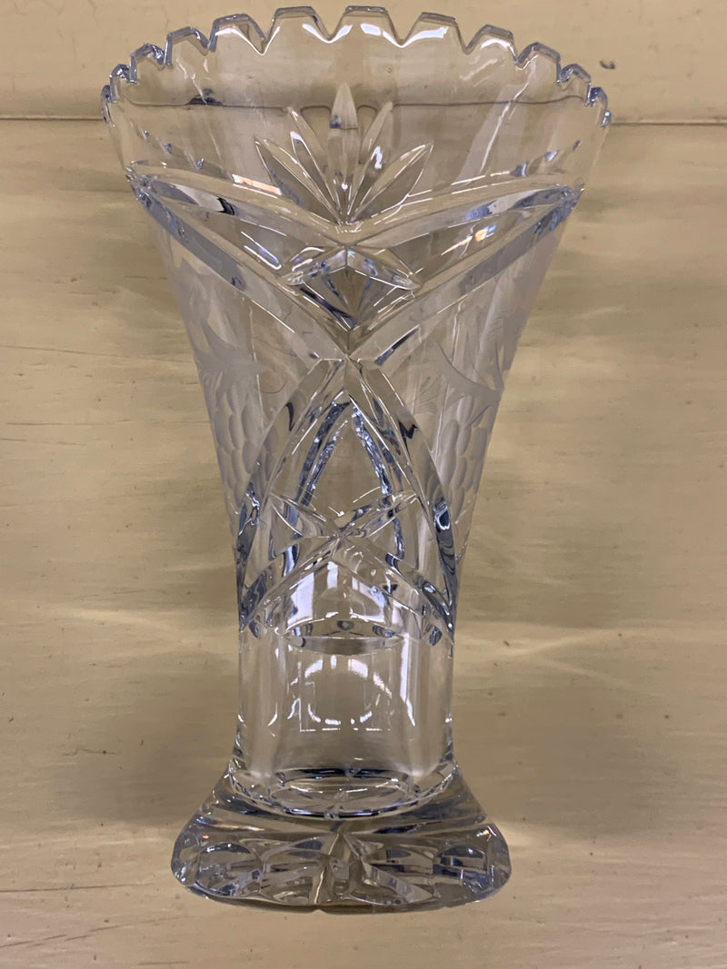 Crystal Glass Mid Century  - Flower Grape Etched Pattern Vase - Home Decor