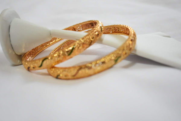 Gold Plated Bangles -Design V -Size - 2.6