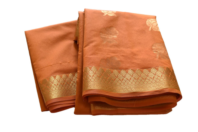South Silk Cotton Saree in Yellow color with Zari Flowers