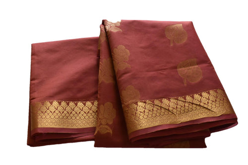 South Silk Cotton Saree in Maroon color with Zari Flowers