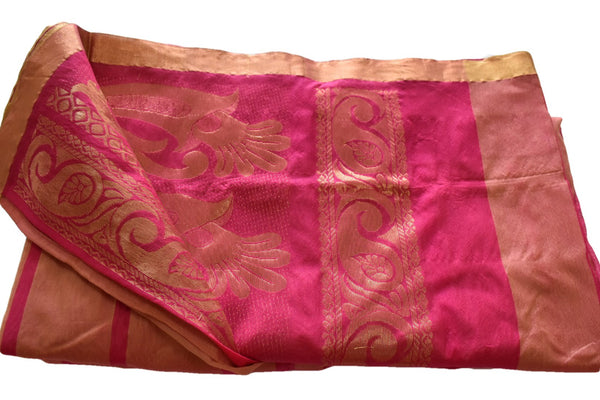 Berry Pink Color - South Indian Chennai Cotton Silk Blend Saree -  Shiny Gold Border