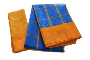 South Silk Cotton Saree in Blue Color with Yellow Border