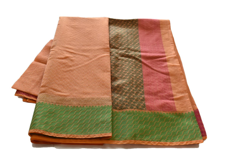 South Pure Silk Cotton Saree in Sandalwood Yellow color with Pink, Green border