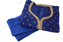Load image into Gallery viewer, Gold Emboss Cotton Anarkali Kameez Kurti Blue color with Cotton Churidhar - Size - Small/ Medium