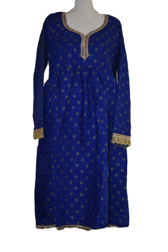 Gold Emboss Cotton Anarkali Kameez Kurti Blue color with Cotton Churidhar - Size - Small/ Medium