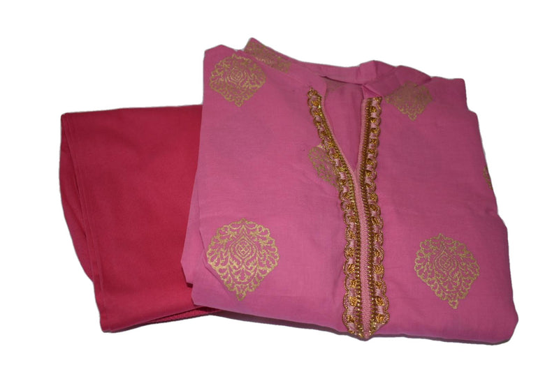 Gold Emboss Cotton Anarkali Kameez Kurti Pink III color with Cotton Churidhar - Size - Medium