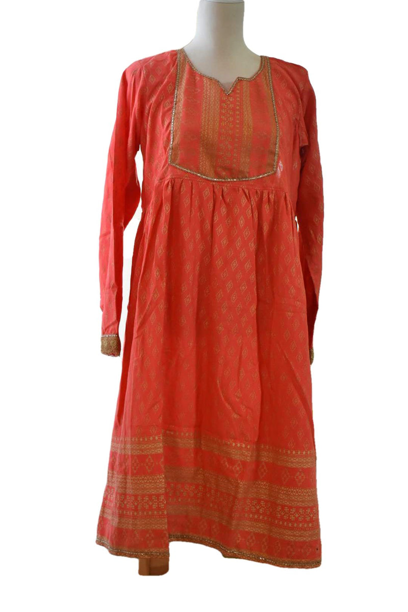 Orange - Gold Block Emboss Print - Gold Zari Lace - Cotton Anarkali Kurti Kameez Set