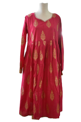 Gold Emboss Cotton Anarkali Kameez Kurti Dark Pink color with Cotton Churidhar - Size - Small/Medium