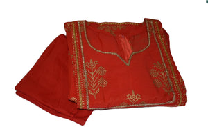 Gold Emboss Cotton Anarkali Kameez Kurti Red I color with Cotton Churidhar - Size - Small/Medium