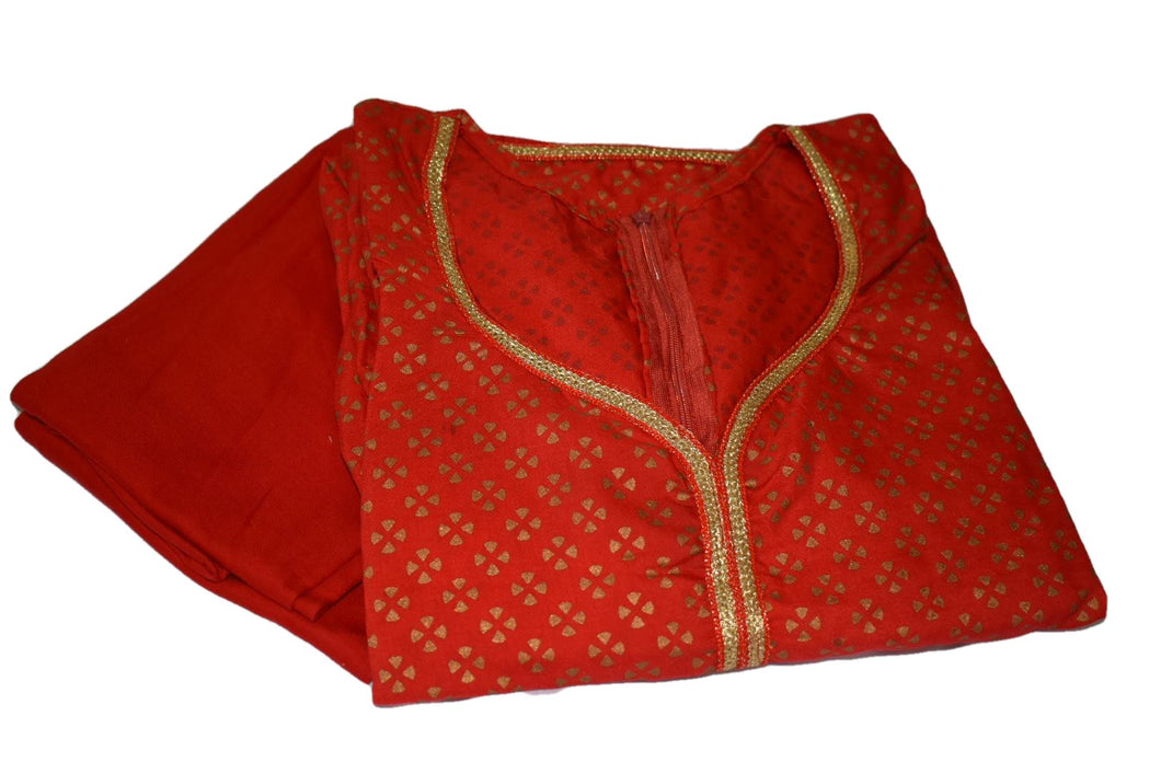Gold Emboss Cotton Anarkali Kameez Red II color with Cotton Churidhar - Size - Small/Medium