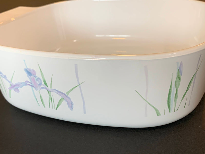 WHITE LILAC COLOR - MID CENTURY SHADOW IRIS SERVEWARE CASSEROLE- FLORAL PATTERN - SQUARE SHAPE WITHOUT LID