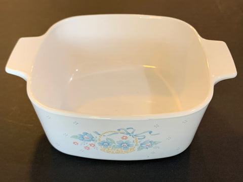 "Corning ware Casserole Floral Bouquet II 8"" to 10"" without lid"