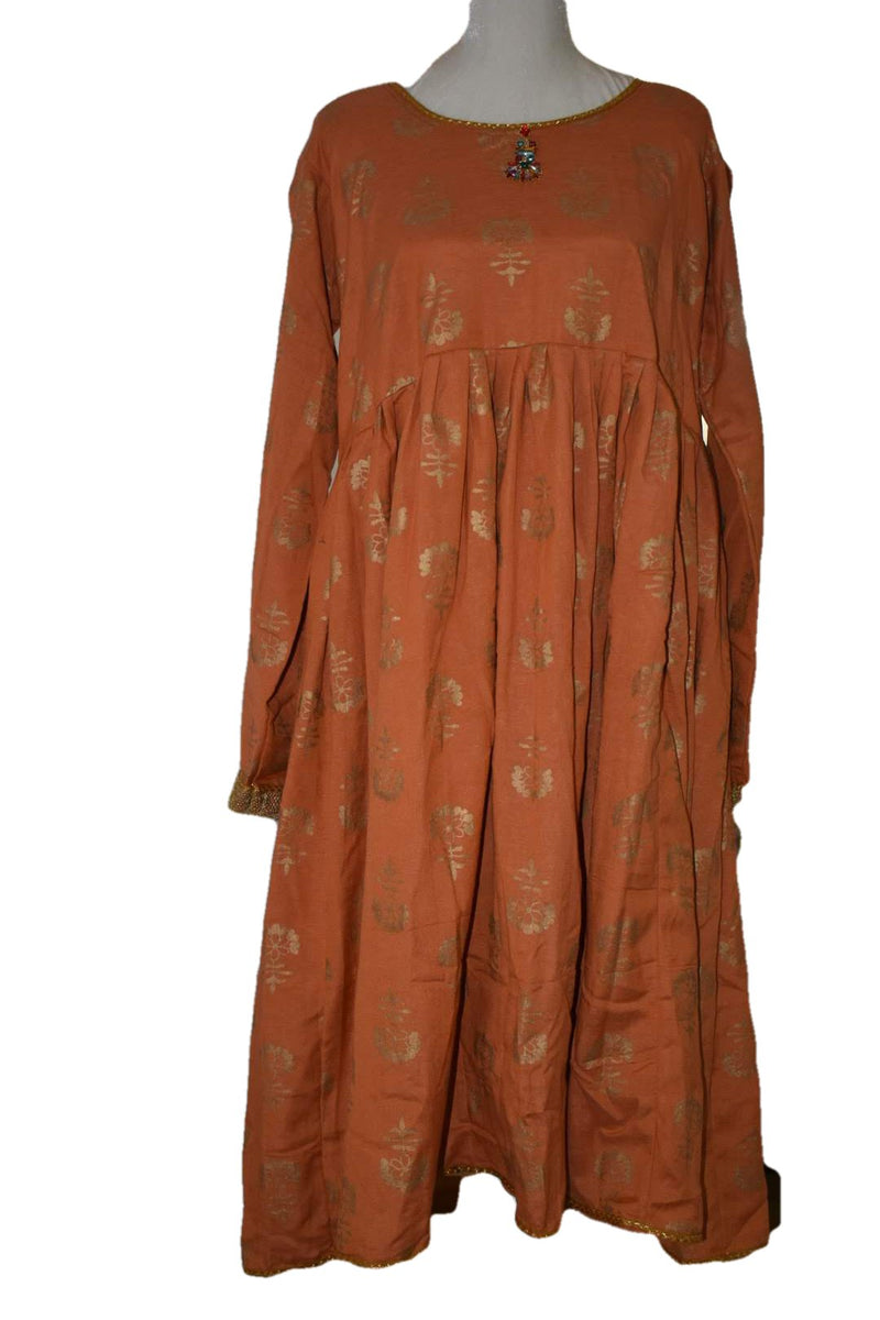 Dusty Orange - Gold Block Print - Cotton Anarkali Kurti Kameez Set