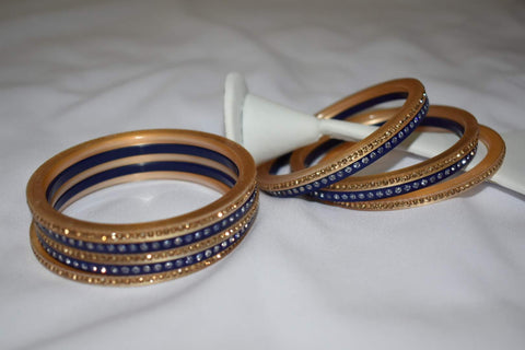 Jewel Stone studded Bangles in Navy Blue Color. Size - 2.8/2.10