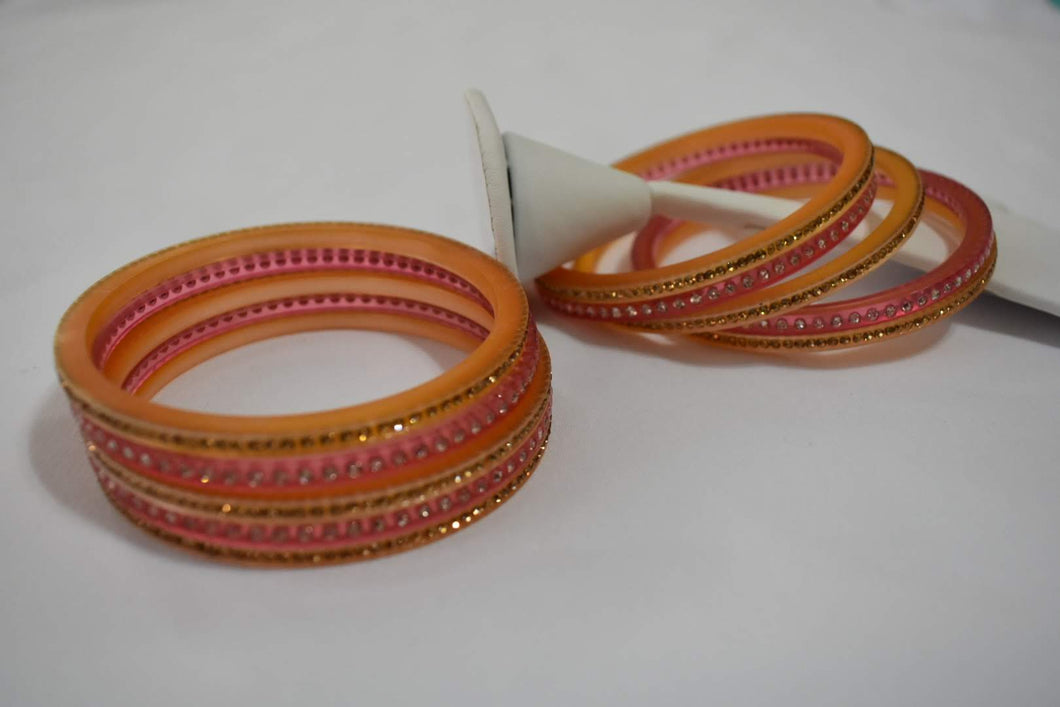 Jewel Stone studded Bangles in Light Pinkish Red Color. Size - 2.8/2.10