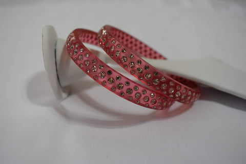 Jewel Stone studded Kadas in Light Pinkish Red Color. Size - 2.8/2.10