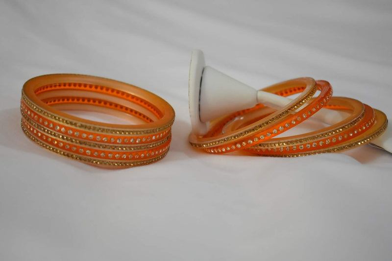 Jewel Stone studded Bangles in Orange Color. Size - 2.8/2.10