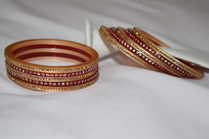 Jewel Stone studded Bangles in Dark Red Color. Size - 2.8/2.10