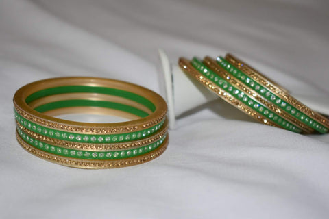 Jewel Stone studded Bangles in Green Color. Size - 2.8/2.10