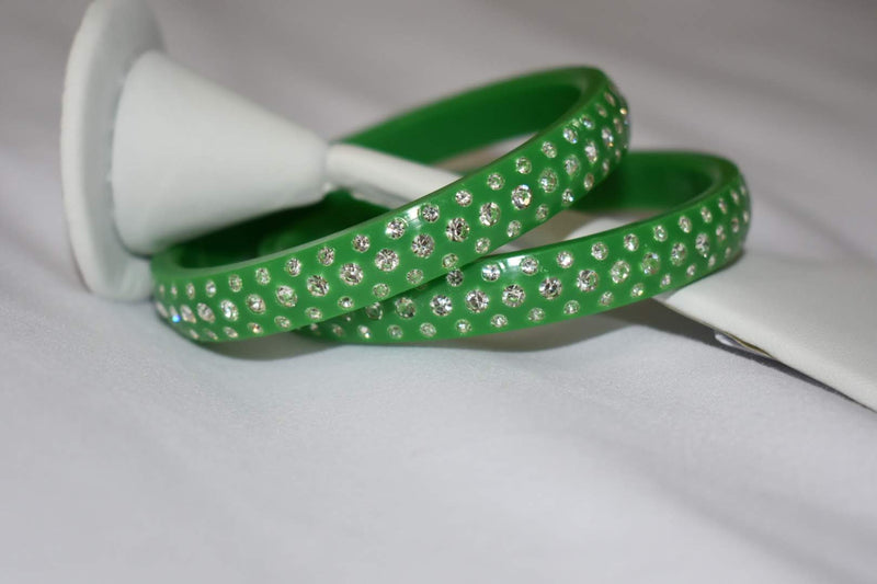 Jewel Stone studded Kadas in Green Color. Size - 2.8/2.10