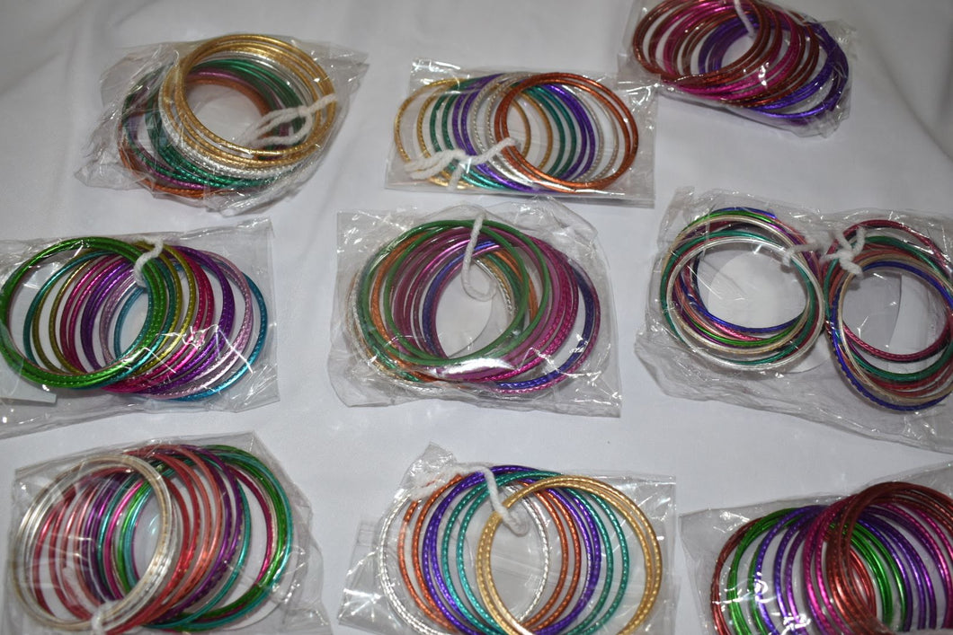 Multicolored Metal Bangles III - Set of 6 bangles