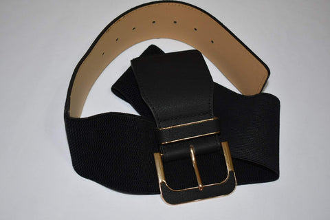 Elastic Belt in Black Elastic and Leather Belt XL