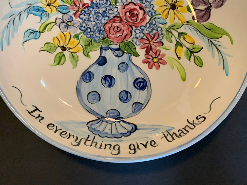 HAND PAINTED CERAMIC DECOR PLATTER WITH A QUOTE-HOME DECOR