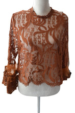 Load image into Gallery viewer, Lace Top in Brown color, Size - X Small/ Small