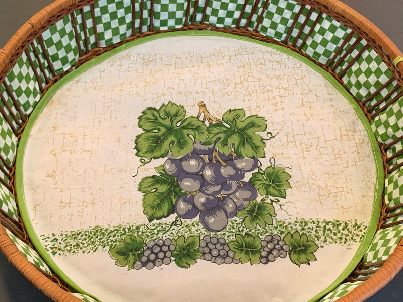 Grape Design Cloth Padded - Wood Straw Tray -