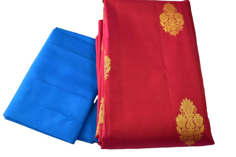 Pure South Silk Saree with Flower Zari Design in Dark Pink Color with Blue color Pallu