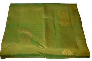 Pure South Silk Saree with Flower Zari Design in Green Color with Zari Pallu