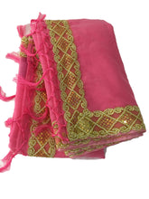 Load image into Gallery viewer, Cotton Silk Blend Saree in Pink Color with Gold Sequin lace border