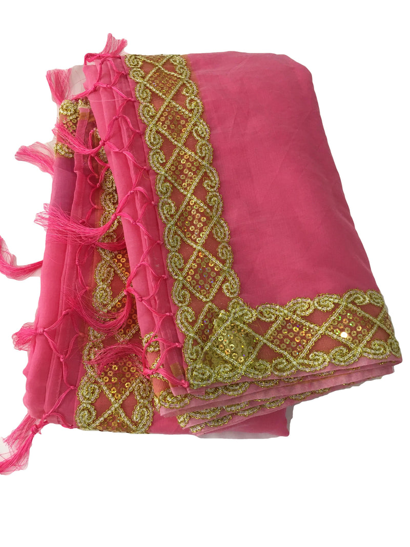 Watermelon Pink Color - Chandheri Cotton Silk Blend Saree - Sequin And Zari Thread Lace Border
