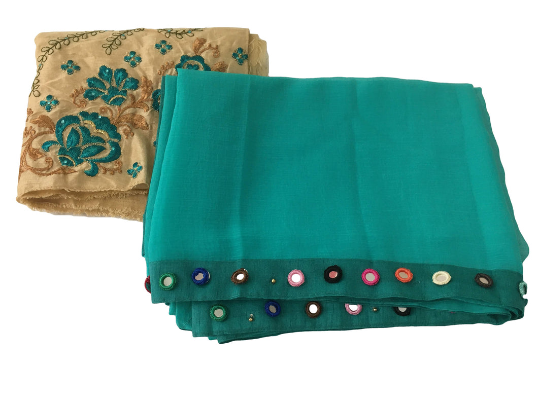 Pure Marble Chiffon Saree in Greenish Blue color with crochet mirror work border