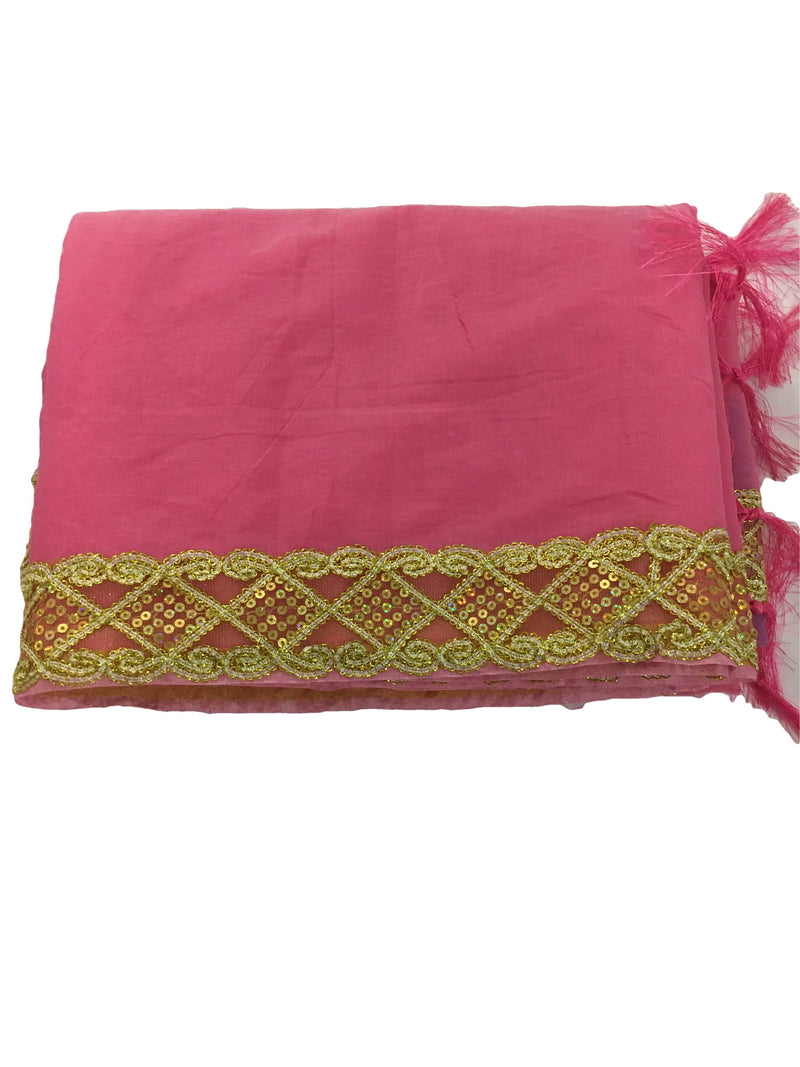 PINK GOLD COLOR - COTTON SILK BLEND SAREE - ZARI THREAD SEQUIN BORDER