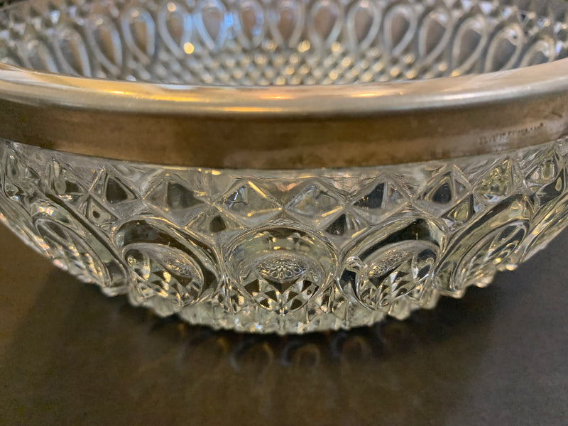 Silver Plated Rim - Mid Century Crystal Glass Bowl - Home Décor