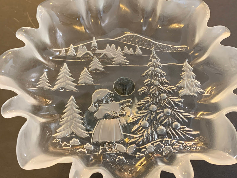 MID CENTURY FROSTED GLASS - FROM GERMANY- CHRISTMAS CAKE STAND-NEW