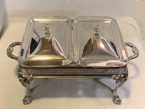 Silver Plated Serve ware Rectangular Heavy Holder with casseroles