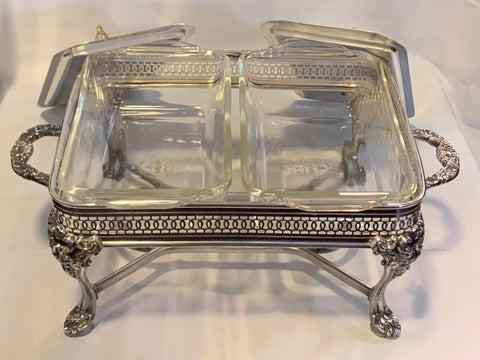 Anchor Hocking Pyrex 2 Rectangular Vegetable Casseroles with Silver plated Holder