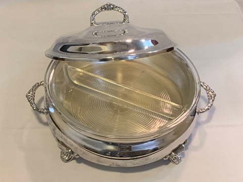 Anchor Hocking Pyrex Round Sectional Casserole with Silver plated Holder