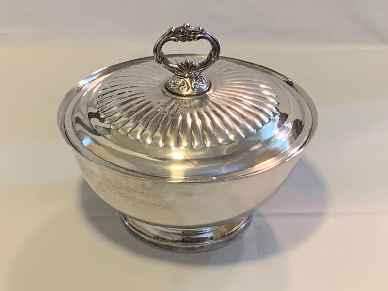 Silver Plated Mid Century Buffet Server With Glass Casserole