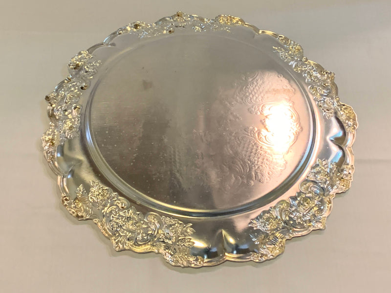 Silver Plated Mid Century Bread Platter - Ornate Rim - Engraved Ornate Pattern
