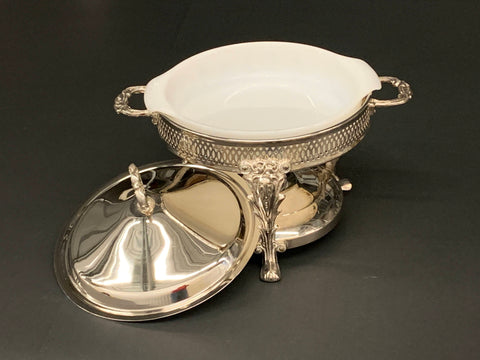 Anchor Hocking Pyrex Fire King 1 Round Candle Glow Casserole with Silver Plated Holder and Lid