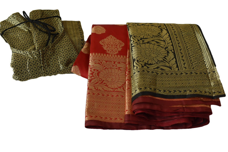 Pure Banarasi Silk Saree with Gold Zari Design in Red II color with Size Medium Saree Blouse
