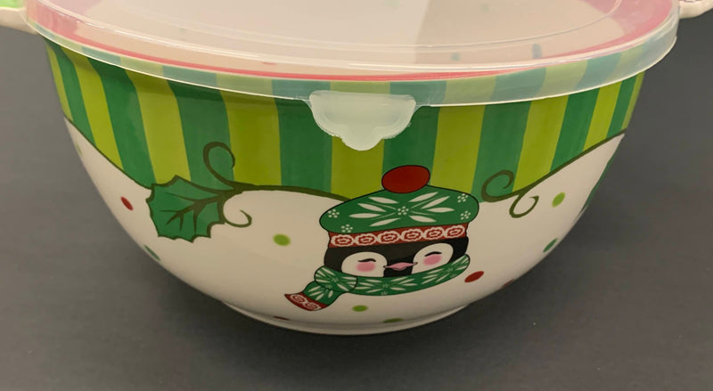 HOLIDAY PENGUIN PATTERN - CERAMIC PORCELAIN SERVEWARE BOWL WITH PLASTIC LID