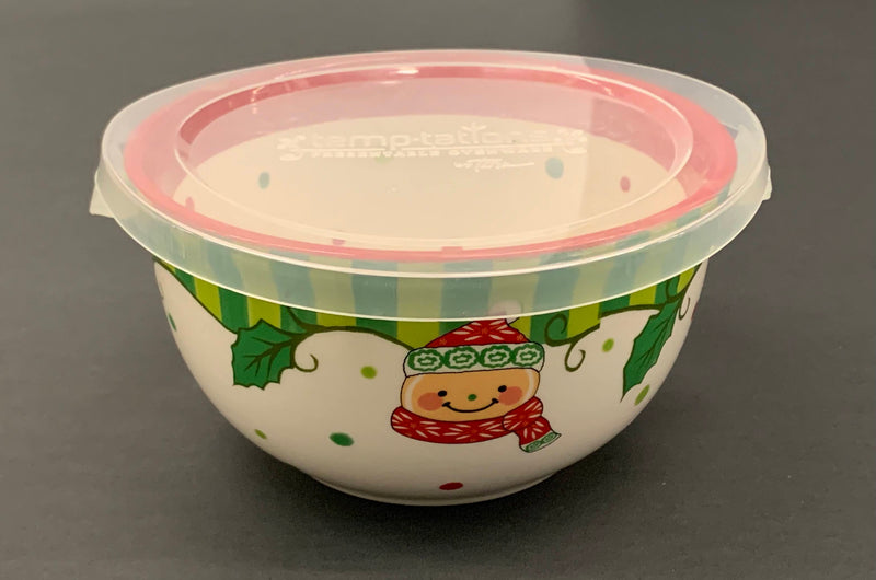 HOLIDAY SNOWMAN PATTERN - CERAMIC PORCELAIN SERVEWARE BOWL WITH PLASTIC LID