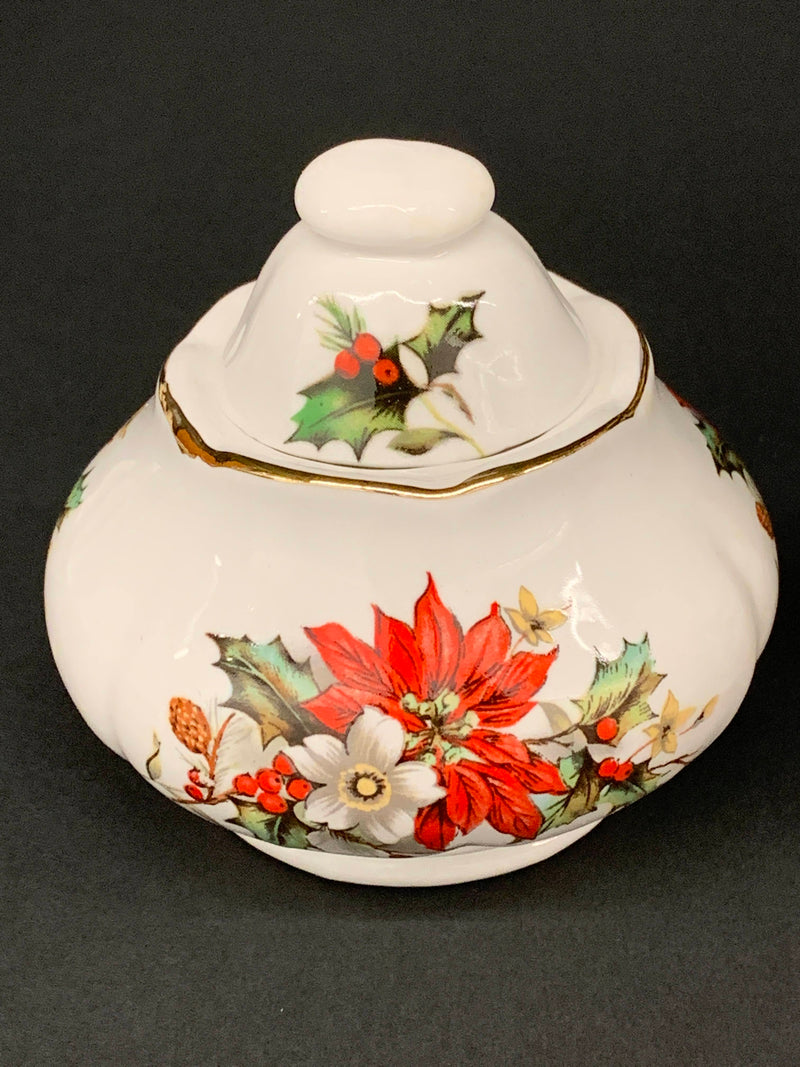 Holiday Holly Pattern - Mid Century Gold Trim Porcelain Fine China - Sugar Bowl And Creamer