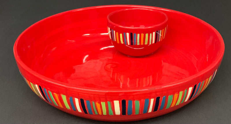 Ceramic Glazed - Red Summer Color - Chip Dip Platter