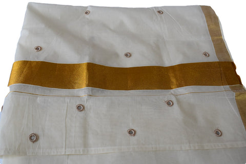 Kerala Kasavu Saree in Cotton Cream Color with Gold Silk Border and Crochet Mirror work