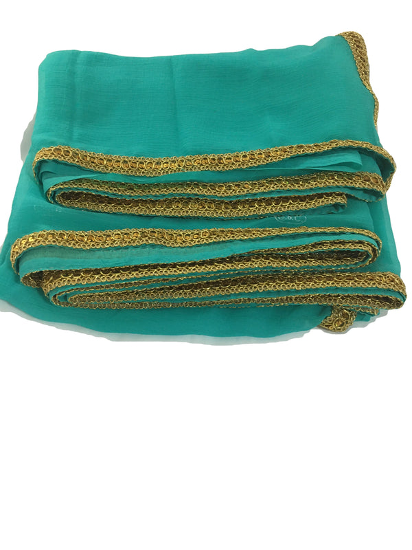 Turquoise Greenish Blue Color - Pure Marble Chiffon Saree - Gold Lace Border- Embroidered Blouse Fabric